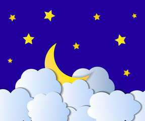 Vector Paper Moon in Clouds, Starry Night Illustration.
