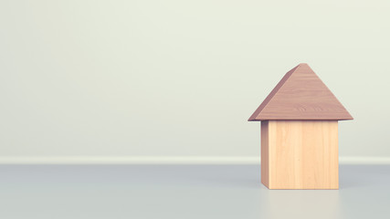 3d rendered vintage style wooden toy-house on white background, conceptual illustration