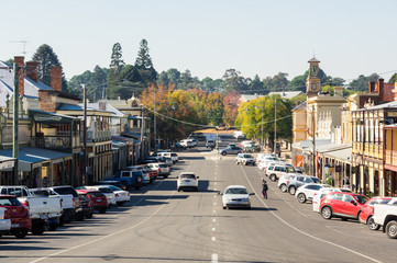 View along historic Ford Street in the goldrush town of Beechworth.