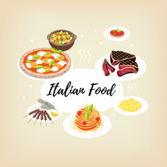 """Vector illustration. Set flat style icons of traditional italian food. Template card with text """" Italian Food""""."""