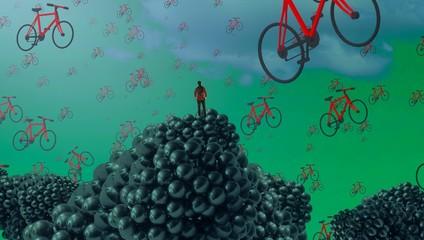 2d illustration. Imaginary dreamlike motivational illustration. Person   dreaming.