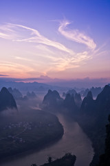 View from Xianggong Hill over the Li river at sunrise