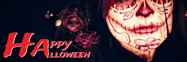 Composite image of graphic image of happy halloween text