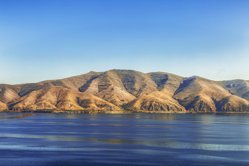 View of mountains and lake Sevan in Armenia