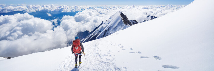 Trekking to the top of Mont Blanc mountain in French Alps Wall mural