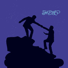 Silhouette of two people metaphor (help, support, friendship), on the mountain, hand in hand, on a dark blue background and the moon