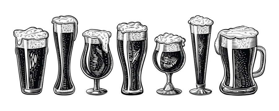 Vector beer glasses and mug. Hand drawn engraved vintage style.
