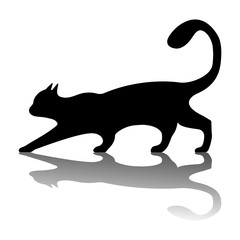 Black Cat logo. Vintage cat silhouette on white background. Vector illustration