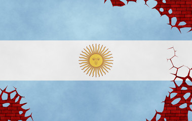 Illustration of an Argentinian flag , imitation of a painting on the cracked wall