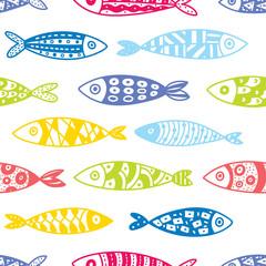 Cute fish.  Kids background. Seamless pattern.