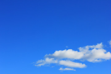 Blue Sky Background and Clouds. Simple Natural Texture Template of Blue Sky with Clouds. Outdoor Cloudscape Day View of Vivid Blue Color of Sky. Natural Sky Poster and Empty Copy Space