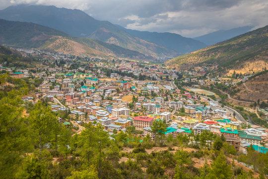 Panoramic view of Thimphu in Bhutan