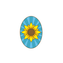 Sunflower flower inside oval frame badge logo icon illustration
