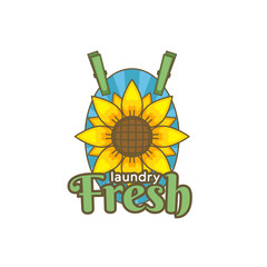 sun flower fresh laundry logo icon badge illustration vintage color tattoo style