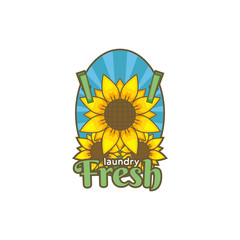 Sunflower flower fresh laundry logo icon badge illustration vintage color tattoo style