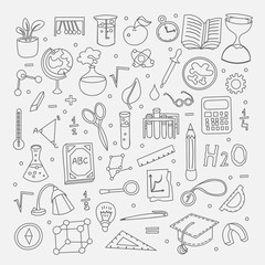 Lined Back to School supplies, elements and objects. Autumn back to school supplies in funny doodle cartooning design. School supplies icon collection. Set of school science objects, doodle hand draw