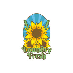 Sunflower flower fresh laundry logo icon badge illustration vintage color with sunburst background tattoo style