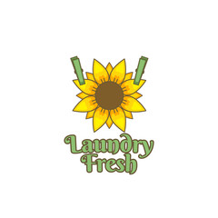 Sunflower flower fresh laundry logo icon badge illustration vintage color style