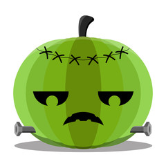 Isolated zombie halloween pumpkin. Vector illustration design