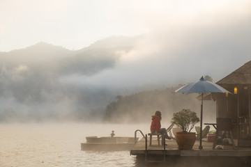 Chiangmai,Thailand-December 24,2017, The mist in the lake in the morningat Mountain Float Chiang Mai , Mae Ngud Som Boon Chol dam, Chiangmai, Thailand.