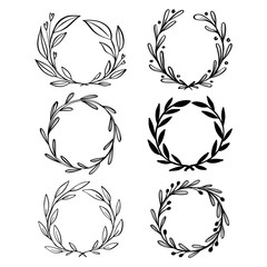 Collection of hand drawn vector floral wreath with leaves. Circle frame wreaths for logo design, for wedding invitations, for emblem and badge.