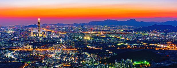 Fotobehang Seoel Twilight at Seoul,South Korea.
