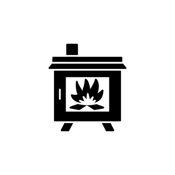 Black & white vector illustration of wood stove. Flat icon of modern furnace. Heating appliance for home. Isolated on white background