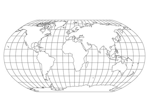 World Map in Robinson Projection with meridians and parallels grid. White land with black outline. Vector illustration.