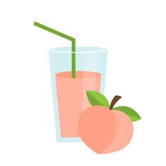 Peach juice in a glass. Fresh juice icon. Flat design. Vector illustration