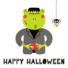Hand drawn vector illustration of a cute funny frog in a Frankenstein monster costume, with text Happy Halloween. Isolated objects on white. Scandinavian style flat design. Concept for children print.