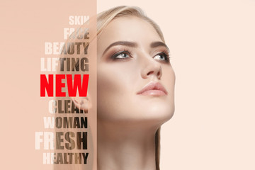 Photo sur Plexiglas Spa Portrait of face of young, healthy and beautiful woman with perfect skin. The plastic surgery, medicine, spa, cosmetics, lifting and visage concept