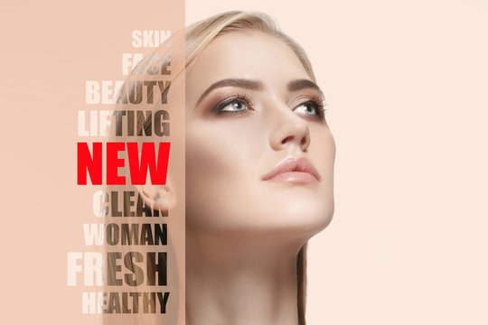 Portrait of face of young, healthy and beautiful woman with perfect skin. The plastic surgery, medicine, spa, cosmetics, lifting and visage concept
