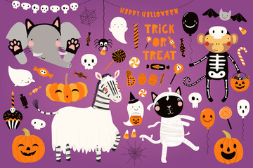 Printed kitchen splashbacks Illustrations Big Halloween set with cute animals cat, zebra, monkey, elephant in costumes, ghosts, pumpkin, candy. Isolated objects. Hand drawn vector illustration. Scandinavian style flat design. Concept party.