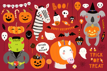Foto op Aluminium Illustraties Big Halloween set with cute animals koala, unicorn, zebra, frog in costumes, ghosts, pumpkin, candy. Isolated objects. Hand drawn vector illustration. Scandinavian style flat design. Concept for party