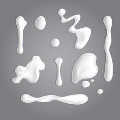 Set of white cream or yoghurt drops. Vector paint stain or yogurt splash illustration for design. Opaque milk elements. Mayonnaise blobs