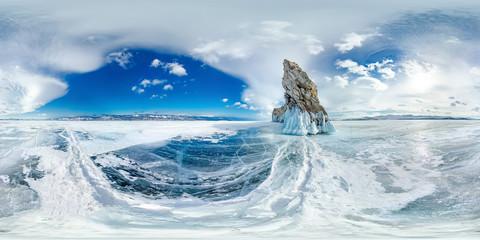 ice on winter Lake Baikal near Ogoy island. Siberia, Russia. Spherical 360vr panorama