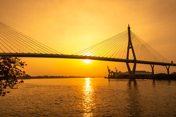 Bangkok skyline and Bhumibol bridge at sunset