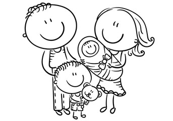 Wall Mural - Happy family with two children, cartoon graphics, outline