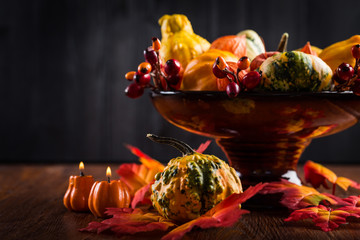 Thanksgiving and Halloween still life with pumpkins