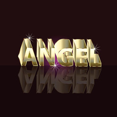 Angel gold name 3D symbol logo