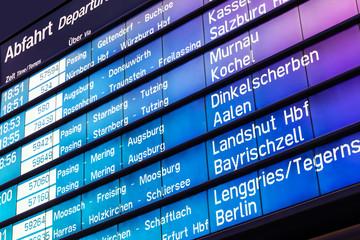 Foto auf Acrylglas Bahnhof Arrival and departure board in Germany