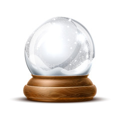 Vector realistic christmas snowglobe 3d winter toy