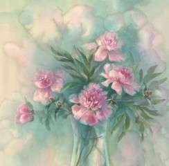 Pink peonies watercolor background. Mothers day. Birthday card