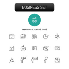 Business icons. Set of line icons. Presentation, time management, graphs. Management concept. Vector illustration can be used for topics like coaching, marketing, finance