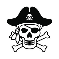 Symbol Jolly Roger. Icon pirate skull isolated on white background. Sign skull with bandana, pirate hat and bones. Monochrome vector illustration