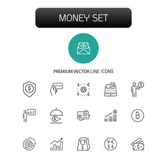 Money icons. Set of  line icons. Money insurance, revenue growth, cash. Finance concept. Vector illustration can be used for topics like business, banking, economics