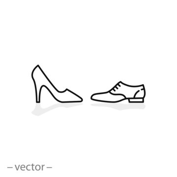 shoes for women and men icon, linear editable vector illustration eps10