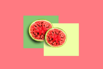 Watermelon round cut, top view close-up, isolated on colored background, minimalism concept,