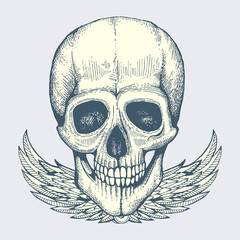Sketched human skull with wings - vintage biker style poster, label vector design isolated on background