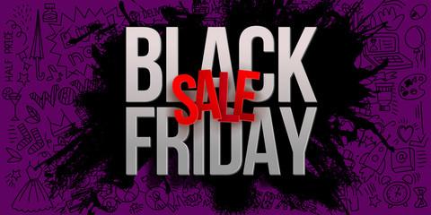Black friday sale on purple banner with splash